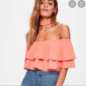Missguided Frill Bardot Bodysuit Size US 0/UK 4